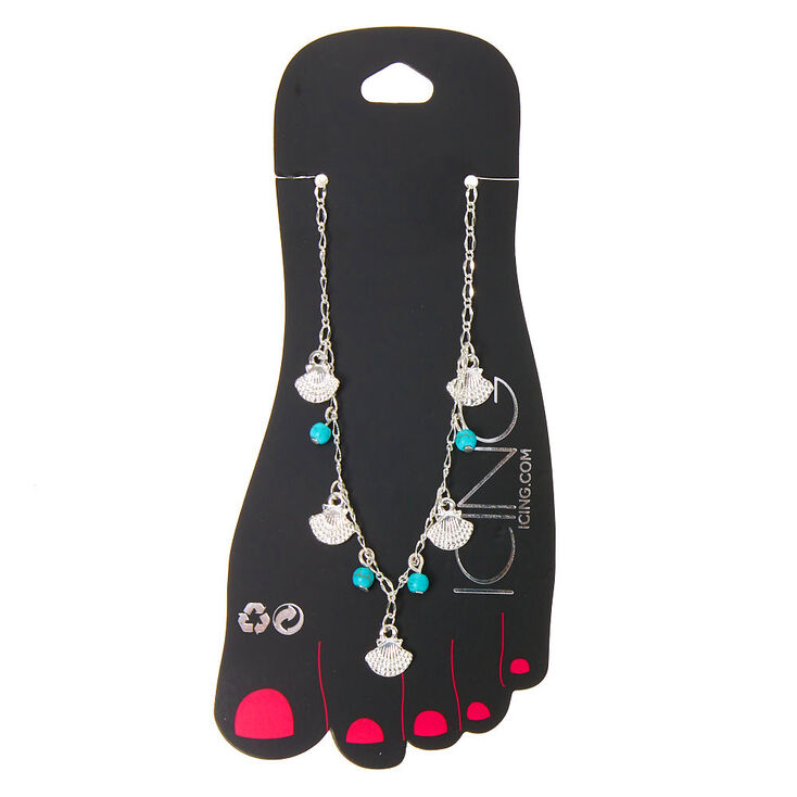 Silver Beaded Seashell Chain Anklet - Turquoise,
