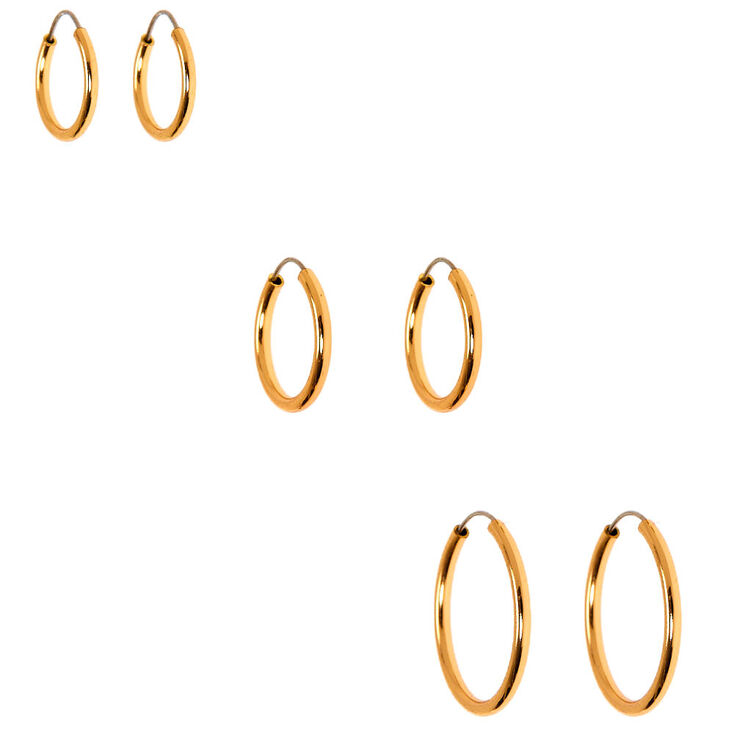 Gold Graduated Mixed Stud & Hoop Earrings - 9 Pack,
