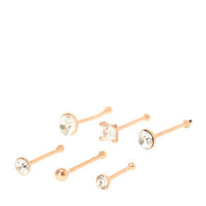 24G Sterling Silver Rose Gold Nose Studs - 6 Pack,