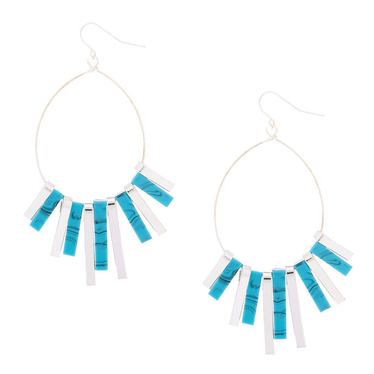 "Silver 2.5"" Marble Bar Drop Earrings - Turquoise,"