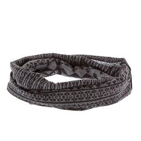 Gray & Black Aztec Print Extra Wide Jersey Headwrap,