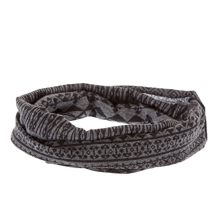 Gray & Black Aztec Print Extra Wide Jersey Headwrap,