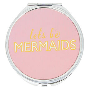 Holographic Let's Be Mermaids Compact Mirror - Pink,