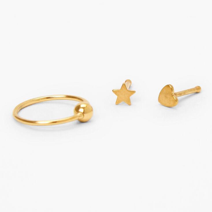 Gold Titanium 22G Heart Star Stud & Hoop Nose Rings - 3 Pack,