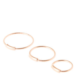 Multi Size Rose Gold Nose Hoops,
