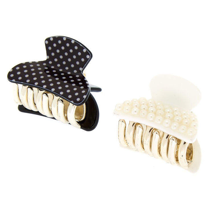 Polka Dot + Pearl Mini Hair Claws - 2 Pack,