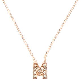 Rose Gold Embellished Initial Pendant Necklace - M,