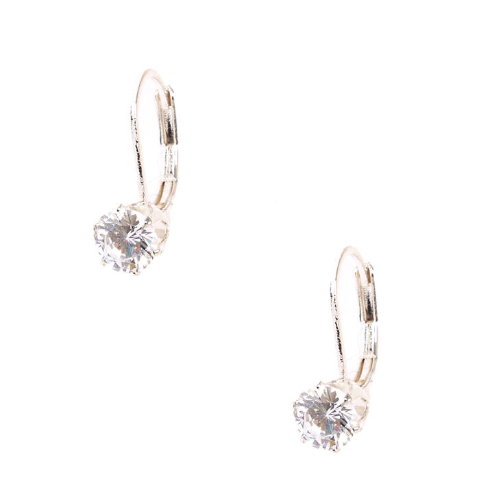 Cubic Zirconia Silver Tone Mini Hoop Earrings,