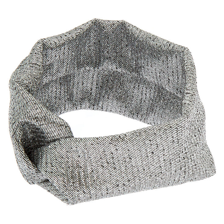 Wide Jersey Foil Headwrap - Silver,