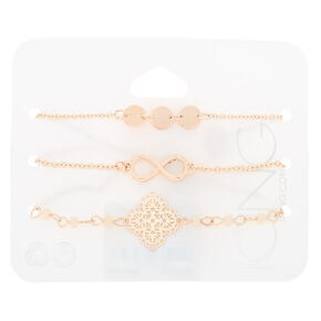 Rose Gold Infinity & Filigree Charm Bracelet Set,