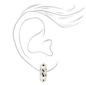 Silver 20MM Celestial Open Hoop Earrings,