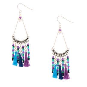 """Silver 3"""" Beaded Tassel Drop Earrings - Purple,"""