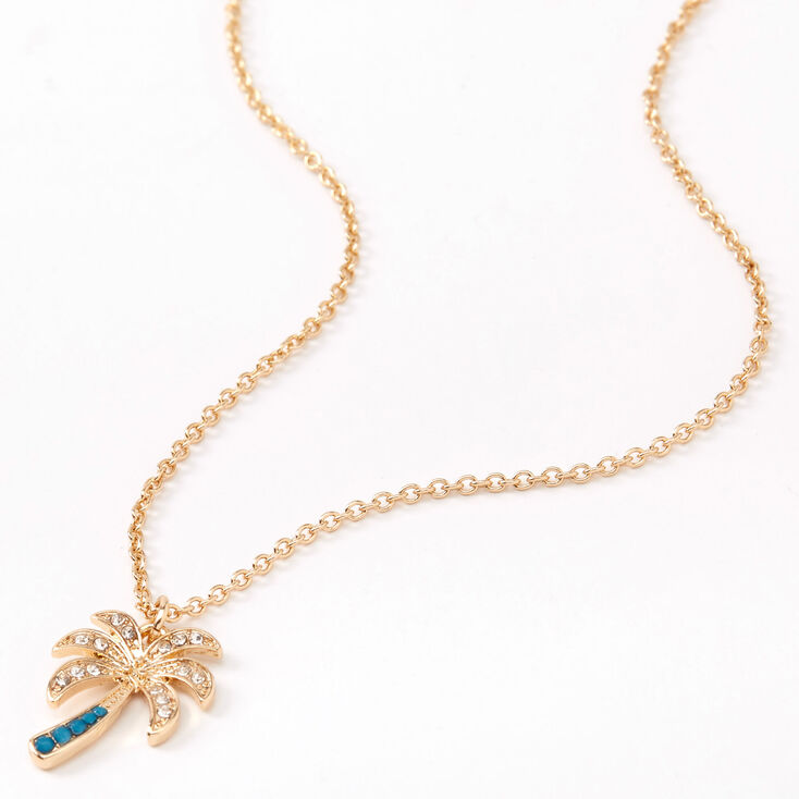 Gold Embellished Palm Tree Pendant Necklace - Turquoise,