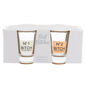 Number 1 & Number 2 Bitch Friends Forever Shot Glass Set - 2 Pack,