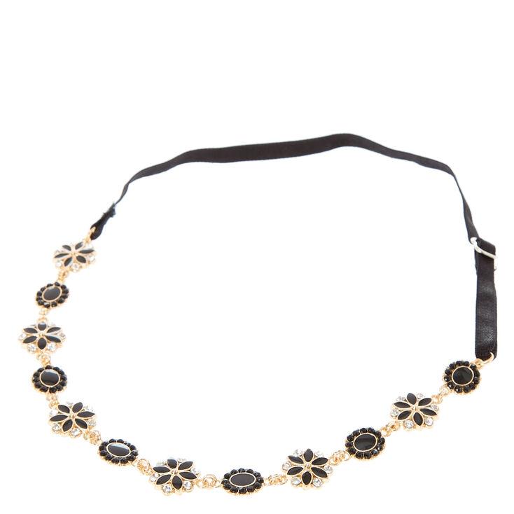 Gold, Black, & Crystal Flower Head wrap,