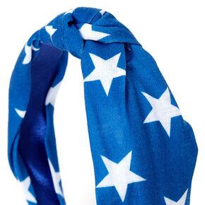 Star Print Knotted Headband - Blue,