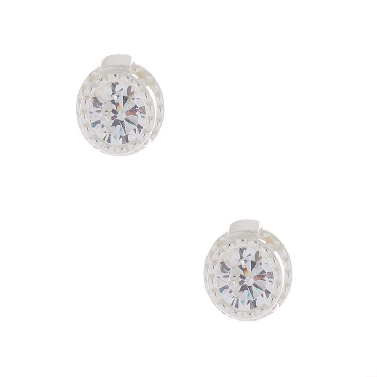 Cubic Zirconia 4MM Double Circle Earring,