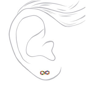 Gold Rainbow Crystal Infinity Stud Earrings,