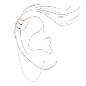 Silver Triple Threaded Ear Cuff Connector Earring,
