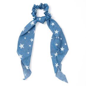 Small Denim Stars Hair Scrunchie Scarf - Blue,
