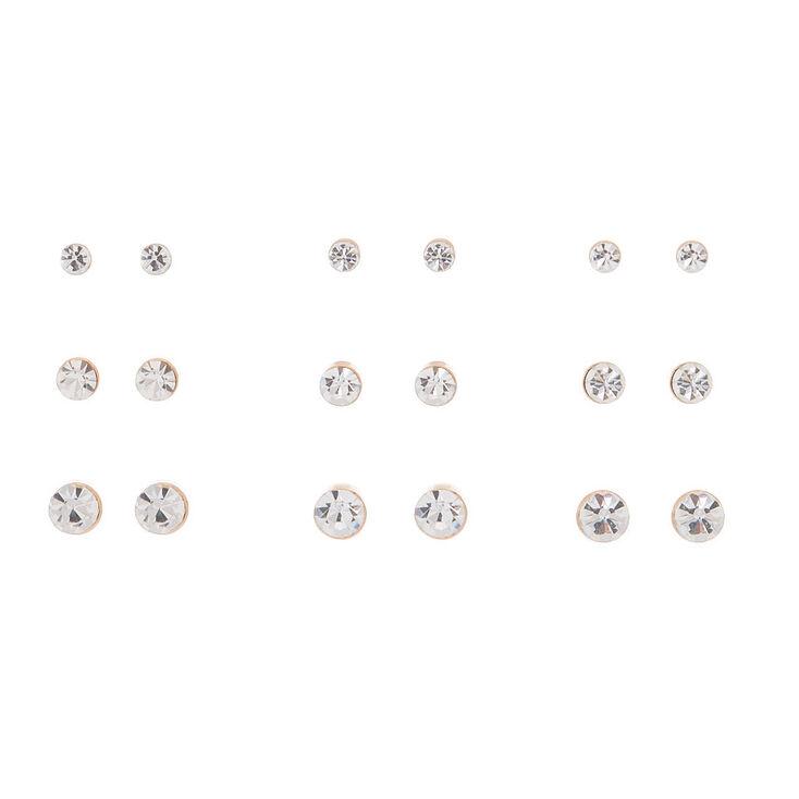Rose Gold Crystal Graduated Stud Earrings - 9 Pack,