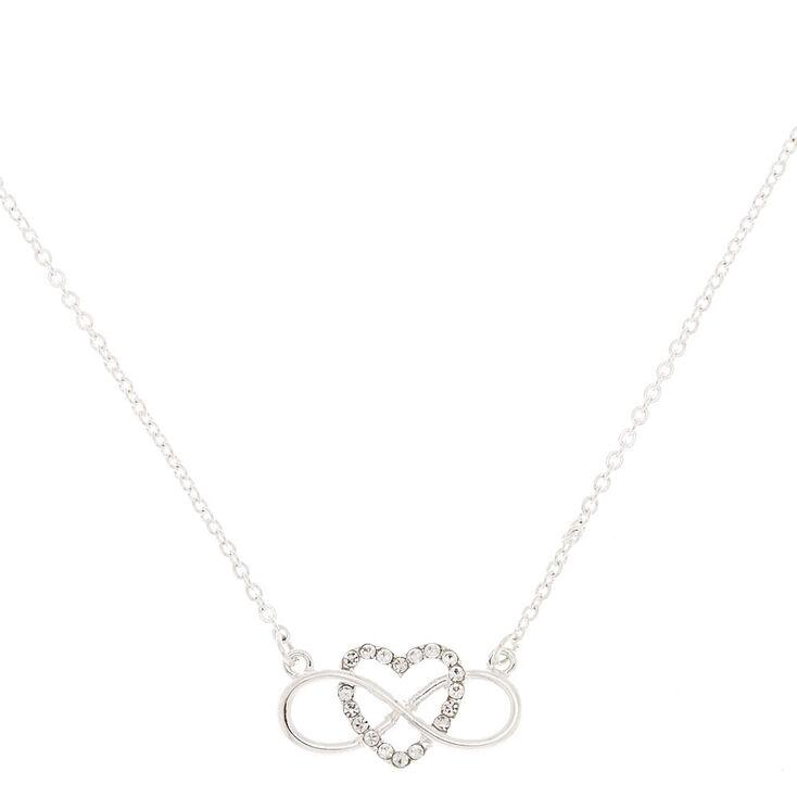 Silver Infinity Heart Pendant Necklace,