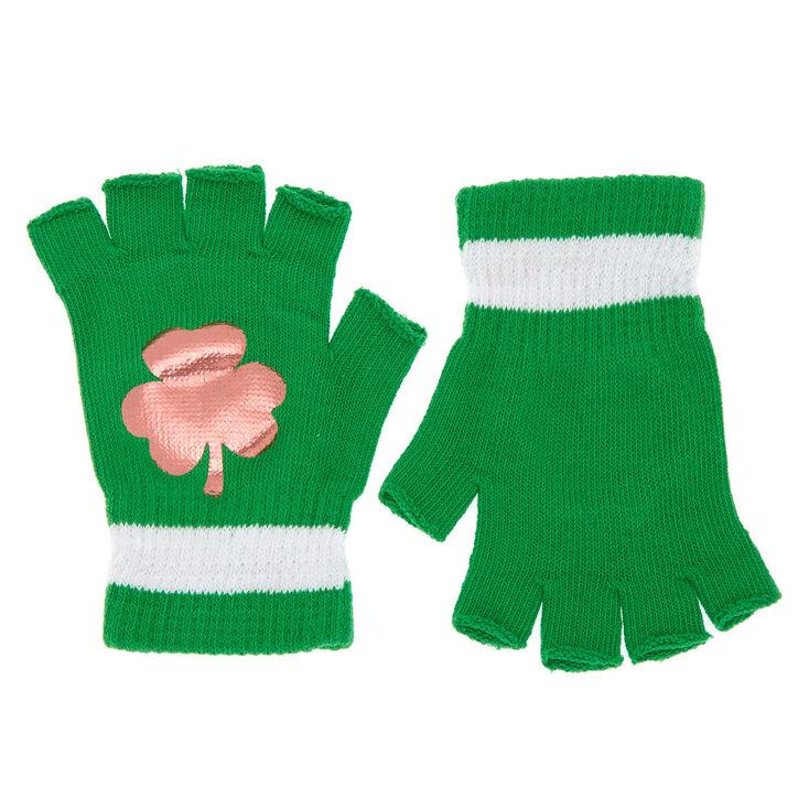 Fingerless Shamrock Gloves - Green,