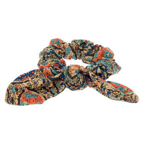 Paisley Knotted Bow Hair Scrunchie - Brown,
