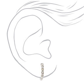 Silver 10MM Crystal Clip On Hoop Earrings,