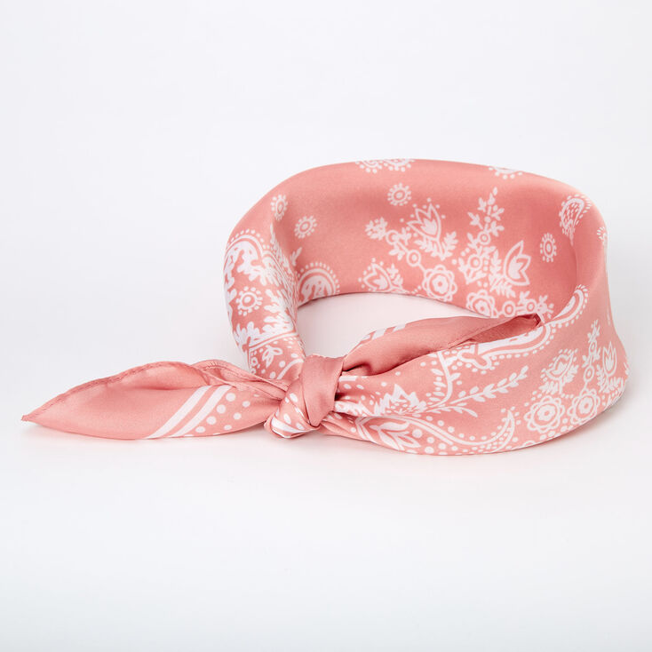 Paisley Satin Bandana Headwrap - Pink,