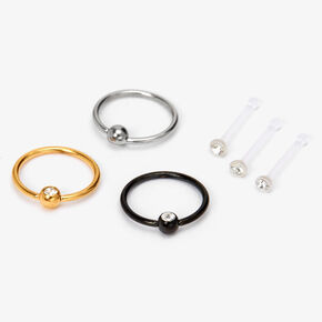 Mixed Metal 20G Retainer Stud & Hoop Nose Rings - 6 Pack,
