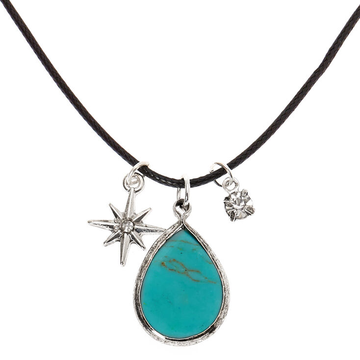 Stone Teardrop Pendant Necklace - Turquoise,