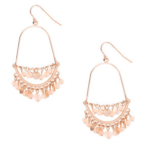 "Gold 2"" Beaded Drop Earrings - Pink,"