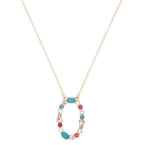 Embellished Long Initial Pendant Necklace - O,