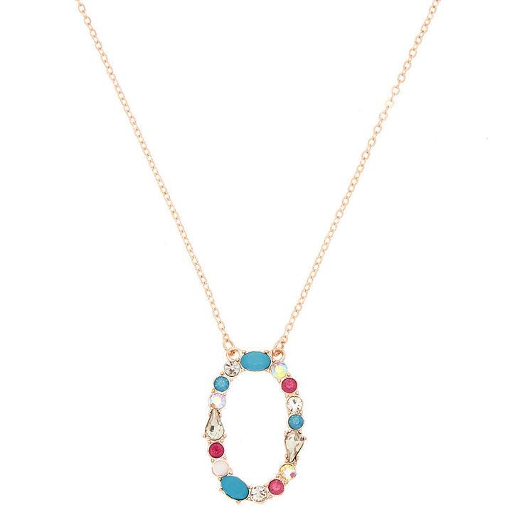 Embellished Long Initial Pendant Necklace - O,