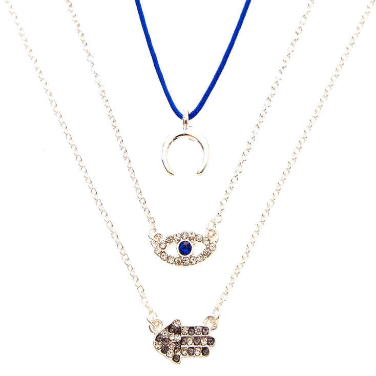 3 Pack Moon, Evil Eye, & Hamsa Hand Pendant Necklaces,