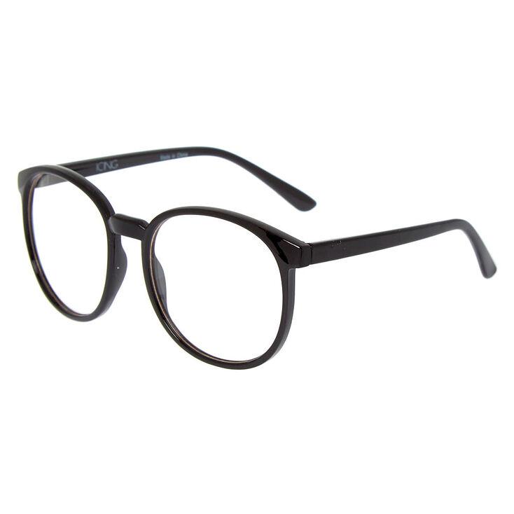 Oversized Round Clear Lens Frames - Black,