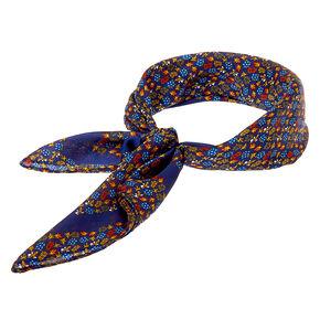 Silky Ditsy Floral Bandana Headwrap - Navy,