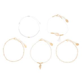 Puka Shell Statement Bracelets - 5 Pack,