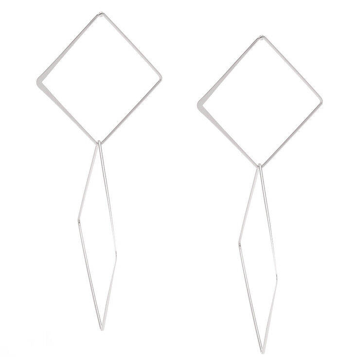 Silver-Tone Geometric Diamond Drop Earrings,