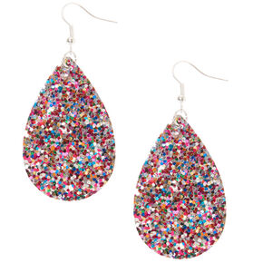 "Silver 2"" Rainbow Glitter Teardrop Drop Earrings,"