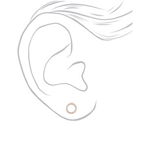 Rose Gold Embellished Circle Stud Earrings,