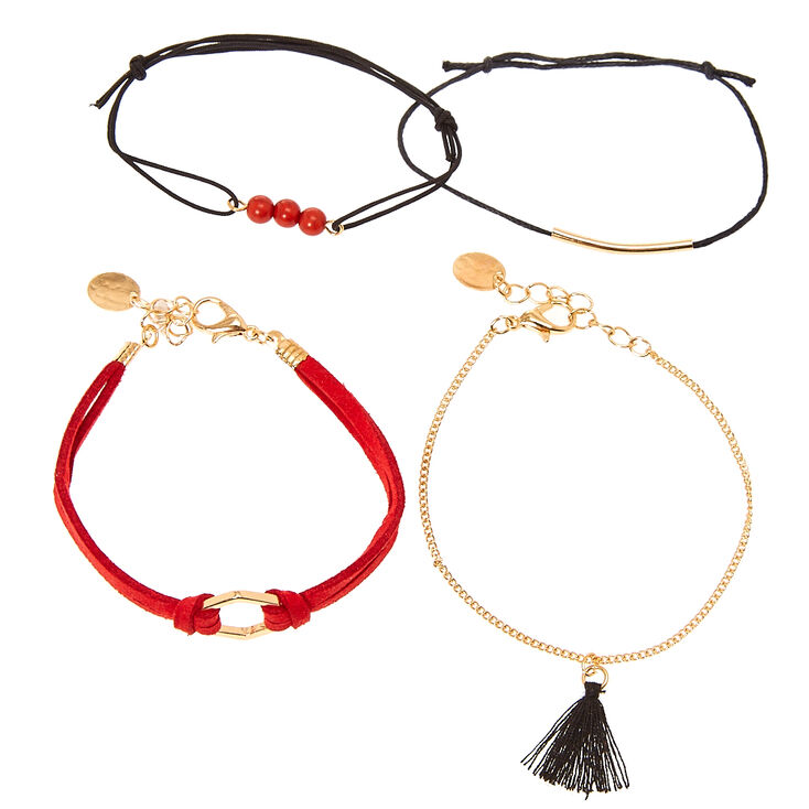Black Cord & Red Suede 3-Piece Bracelet Set,