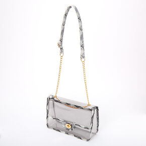 Clear Snakeskin Crossbody Bag,