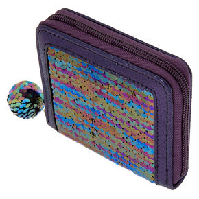 Reversible Sequin Oil Slick Mini Zip Wallet - Purple,