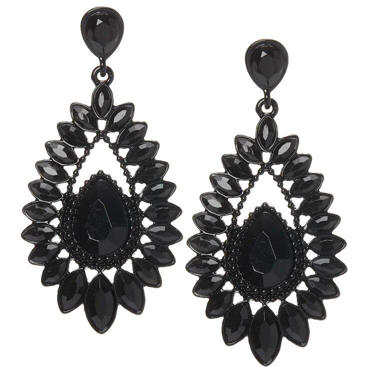 "2.5"" Crystal Teardrop Drop Earrings - Black,"