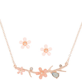 Rose Gold Spring Floral Jewelry Set - Pink,