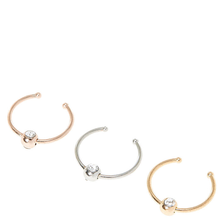 Three Pack Beaded Nose Hoops,