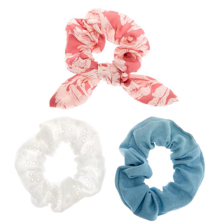 Denim Eyelet Leaf Hair Scrunchies - Pink, 3 Pack,