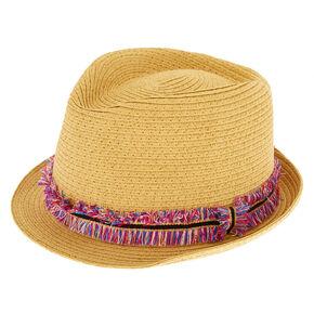 Rainbow Fringe Fedora Hat,